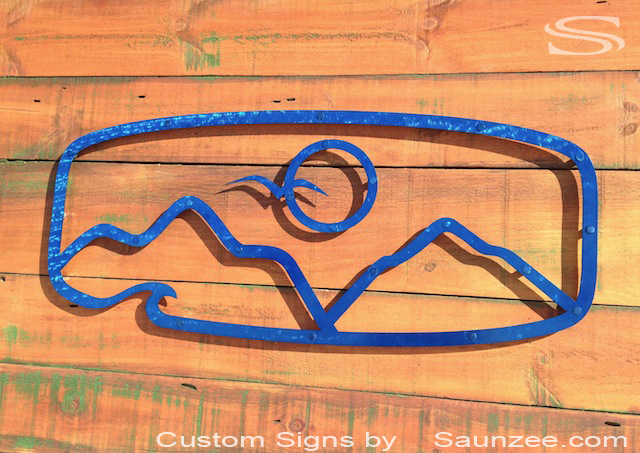 Twin Islands Clothing Kailua Village Hawaii Store Front Sign Beautiful Transparent Blue Brushed Steel Sign Off Set on Rustic Barn Wood Sign Unique Ocean Tropical Sign By Saunzee signs