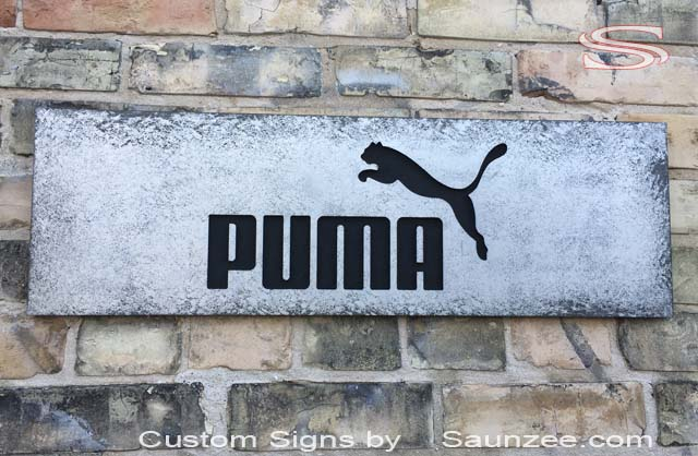 Europe Saunzee Switzerland Custom Metal look Signs industrial look Signs POP Sporting Good Stores Signage Puma Shoes POP Signs