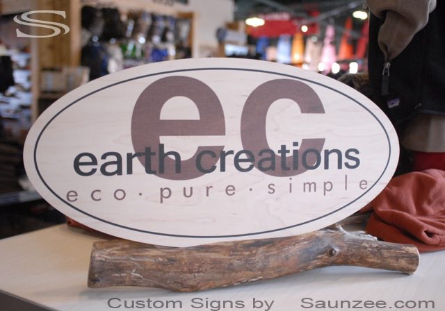 Saunzee Custom Table Top Sign Advertising Timber Display Sign Green Display earth creations eco pure simple Signage