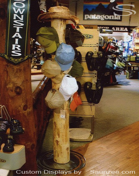 Saunzee Custom Timber Wood 6 foot Western Cedar Pole Hat Display Retail Outfitter Shop Rustic Free Standing Island Merchandising Display Old Tree Pole Rack Display
