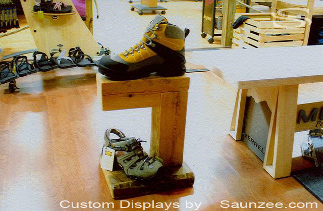 Saunzee Custom Timber Wood Boot Display Retail Outfitter Shop Free Standing Merchandising Displays Rustic Hiking Shoe Displays
