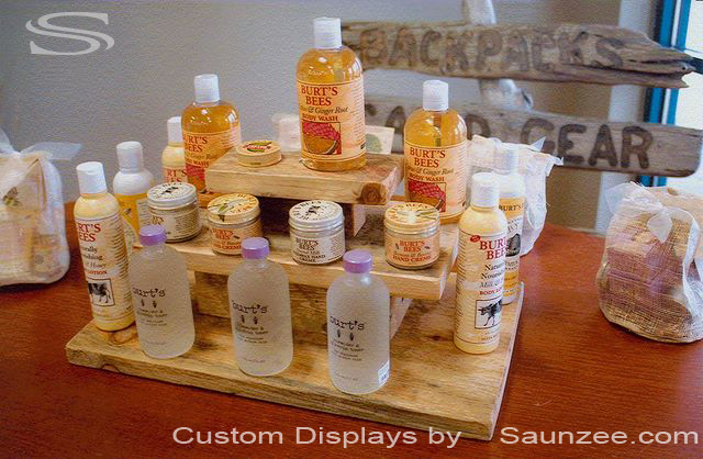 Saunzee Custom Timber Wood Tabletop Displays Layered Pyramid Shelves Merchandising Product Display Burts Bees Products Display