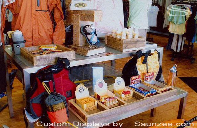 Saunzee Custom Timber Wooden Boxes Displays Retail Outfitter Shop Old Wooden Boxes Holding Merchandise Rustic Tabletop Box Displays
