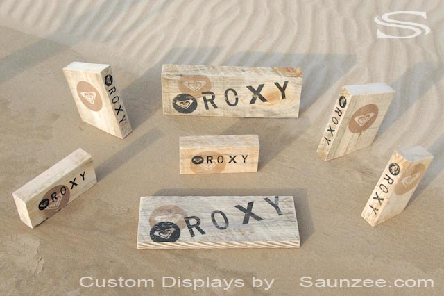 Saunzee Custom Rustic Roxy in Store Displays Surf Shop POP Displays Roxy Wood Displays Free Standing Displays Counter Top Displays Beach Clothing and Accessories Roxy Surf Merchandising Displays