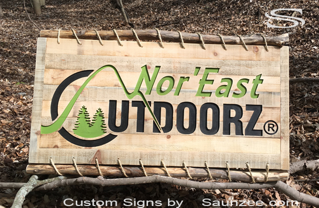 Custom Trade Show Signs Outdoors Woods looking Carved Sign Natural Rustic Wood Sign Weathered old wood sign Tree Branch Frame Sign Nor East Utdoorz Sign Saunzee