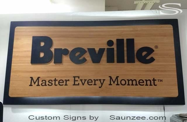 SAUNZEE Breville Custom Bamboo Sign huge trade show sign backlit signs 3d bamboo sign Breville appliance Sign