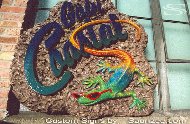 Saunzee Custom Trade Show Signage Sign Foam Big 3D Signs In Store Display Exhibit Signs Trade Fair Signs Tropical lizard-Zoo Sign Surf Store Lightweight FoamSigns Goin Coastal