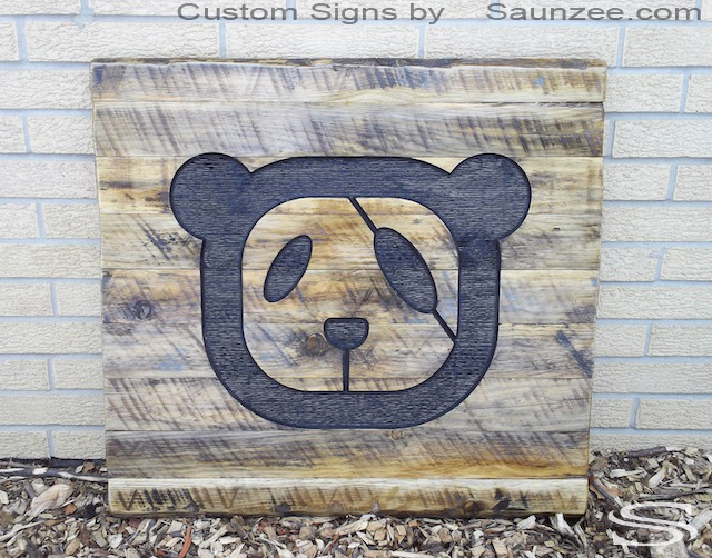 Saunzee Custom 3D Trade Show Signs Rustic Branded Wood Sign Burnt In to Wood Carved Sign Outdoor Commercial Business Signs Zoo Signs Strip Mall Store Front Signage Timber Signs Trade Show Booth Exhibit Signs Panda Bear Liberaed China