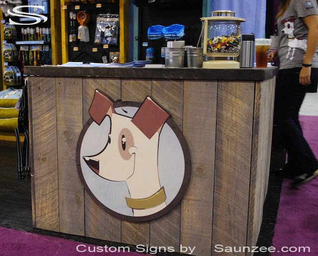 Saunzee Custom Trade Show Sign plywood Signs TradeShow Signage Exhibiting at Trade Show Exhibit Sign Pet Sign Total Pet Expo Convention Center Alcott Trade Show Booth Sign