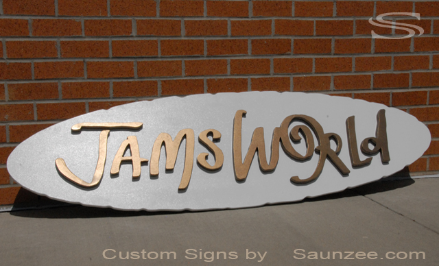 Saunzee Custom Trade Show Signs Jams World Trade Expo Booth Sign Trade Fair Booth Sign TtadeShow Exhibitor Signage Plywood Cutout Signs