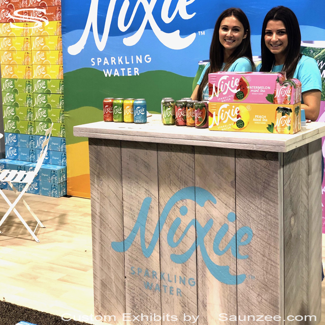 Saunzee Custom trade show counter Rustic Exhibit Wooden counter Trade Show Booths podium Nixie spring water