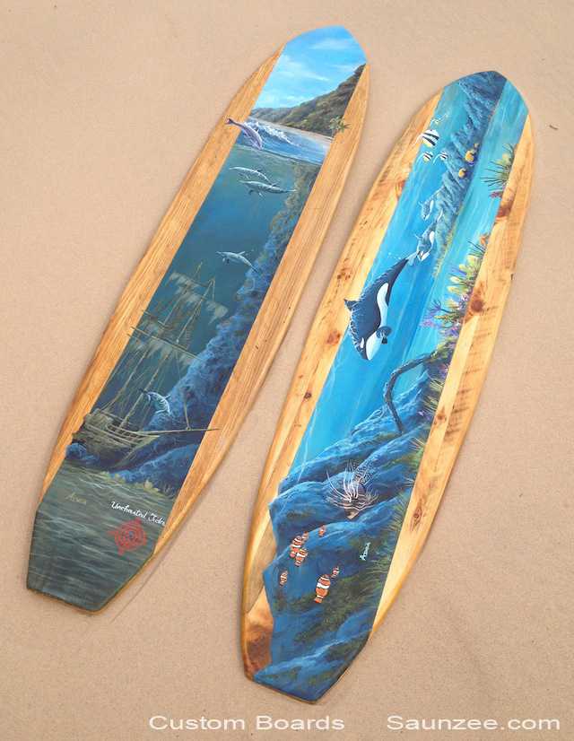 Custom Surf Decor Vintage Wood Longboards Hand Painted Ocean Landscape Custom Surfboards Displays Old Fashion Wooden Surfboards