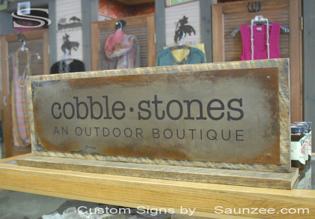 Saunzee Custom Vintage Old Looking Rusty Metal Sign An Outdoor Boutique Shop Sign Retail Countertop Signage