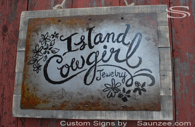 Saunzee Custom Vintage Rusty Metal Signs Rustic Rusty Steel Sign Aged Rusty Metal Sign Old Looking Sign Retail Shop Sign Western Sign Nailed to Barn Wood Signage Island Cowgirl Store Signs