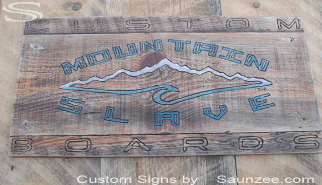 Saunzee Custom Old Vintage Wood burned Sign Old Wood Mountain Slave Board Sign Weathered Old Sign Custom Snowboard Signage