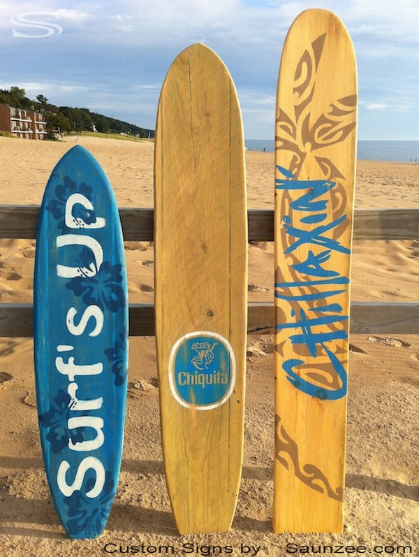 Saunzee Custom Original Wood Surfboard Signs Surf Decor Wooden Display And Beach