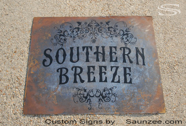 Saunzee Custom Vintage Signs Rusty Tin Sign Weathered Rusty Metal Sign Southern Breeze Showroom Sign Old Looking Sign