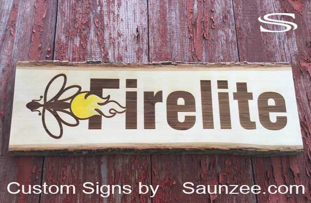 Saunzee Custom Laser Etch Timber Wood Signs Burned in to Tree Wood Sign Tree Cut Sign wood burned sign wood burn Signs FireLite