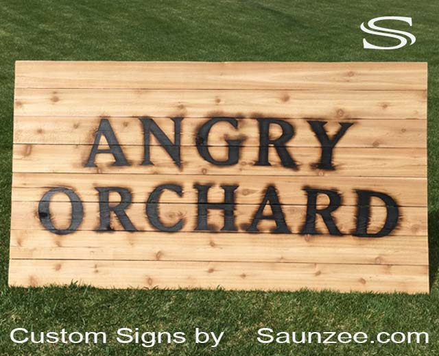 Saunzee Signs Custom Large Branding Iron Wood Burn Sign Cedar Wood Signs Wooden Cedar Wood Burn Signs Branding Irons Livestock Branders Logo Branding Irons For Signage Angry Orchard