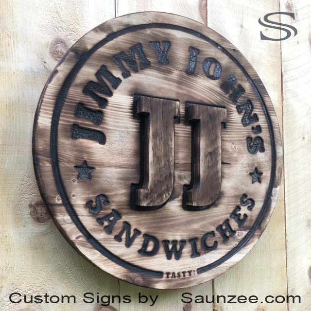 Saunzee Signs Wood Burned Signs Rustic Wood Sign Branded Wood Burning Sign Branding Iron Signs Brand Wood Logo Signs Restaurants Signage Jimmy Johns Sandwich Signs