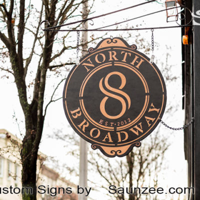 Saunzee-Custom-High-Quality-Restaurant-Business-Signs-Pubs-Signs-Hanging_Steel-Cut-Out-Sign-North-8-Broadway-NY
