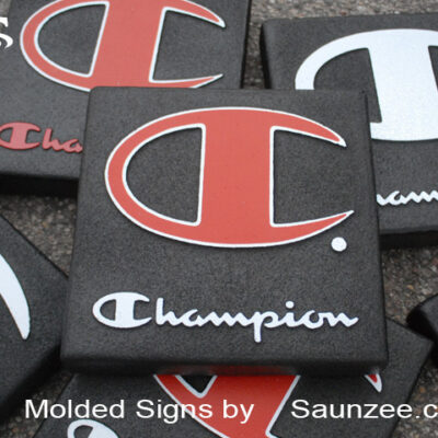 Foam Signs Foam Molded 3D Sign Champion Branding POP Signs Saunzee Signs