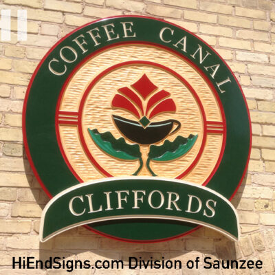 Hi End Signs Commercial Maple Wood Signs Cliffords Coffee Shop Sign High End Signs
